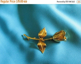 Vintage 60s Gold Tone Giovanni 3D Flower Rose Pin Brooch