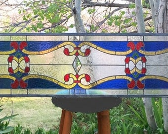 "Art Nouveau Transom  -11 "" x  70""--Stained Glass Window Panel"