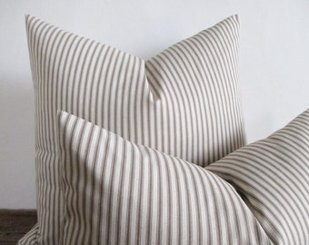 Pillow Cover Taupe Fawn Woven Ticking Stripes Zipper