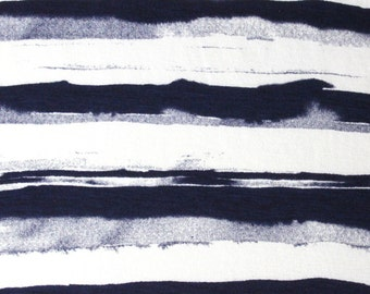 Navy Blue and White Paint Stripe Rayon Spandex Knit, 1 Yard