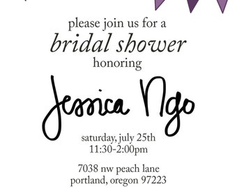 bridal shower invite with flags - digital file, size A2 - bridal shower, classic, custom, event, dinner, surprise, party, bride, wedding