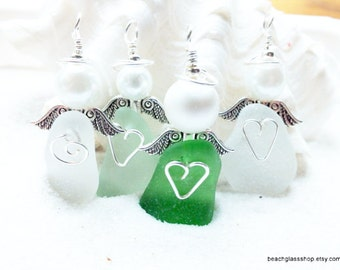 Angel - Beach Angel - Lake Erie Beach Glass Angel - Guardian Angel - Beach Angel- Angel Wings - Sea Glass Ornament - Gift For Teacher