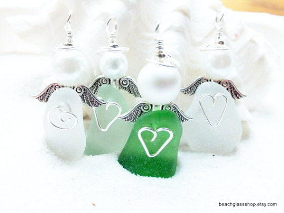 Angel - Beach Angel - Angel Ornament - Guardian Angel - Angel Gift - Angel Wings - Sea Glass Angel - Gift for Her