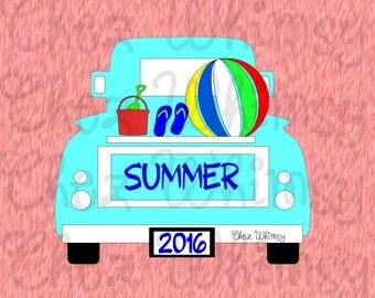 Truck SVG, Summer Truck SVG, Beach Ball, Sand Bucket and Shovel Svg, Flip Flops Svg, Boy Summer Design, Summer Design