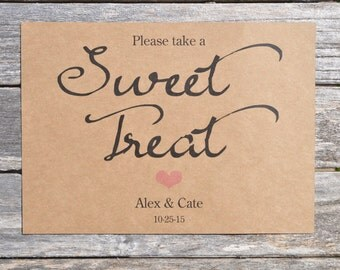 Baby Shower Sweet Treat Sign - Rustic Wedding Sign, Baby Shower Sign - Sweet Table Sign, Candy Buffet Sign - 5x7 Rustic, Kraft Sign