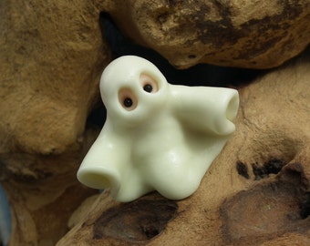"""Ghostly 'Millie' Gnome with glow-in-the-dark sheet 1+3/4"""" OOAK Sculpt by Sculpture Artist Ann Galvin Art Doll"""