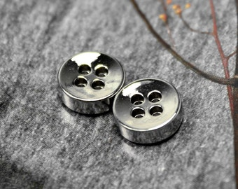 Metal Buttons - Thick Silver Metal Buttons , 4 Holes , 0.43 inch , 10 pcs