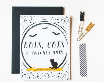Bats, Cats & Witches Hats Halloween Greeting Card