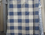 very french RUSTIC WOVEN buffalo check indigo blue/cream linen/ lots of textures tweed multipurpose fabric