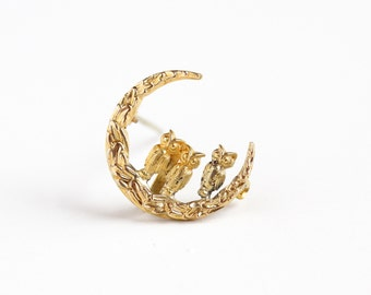 Antique Rosy Yellow Gold Filled Triple Owl Crescent Moon Brooch - Vintage Edwardian 1910s Figural Watch Pin Order of Owls Cute PSCO Jewelry