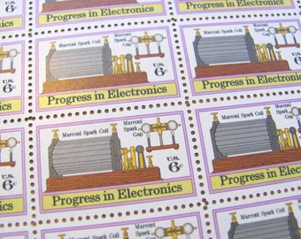 Guglielmo Marconi Full Sheet of 50 Vintage UNUsed US Postage Stamps 6c 1973 Progress in Electronics Save the Date Wedding Postage Technology