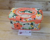 READY TO SHIP Fancy and Fabulous Flowers on Cream Flip Top Nursery Baby Wipe Case, Coral and Mint Baby Shower Gift, Large Wipes Tub, Holder