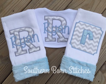 Baby boy monogrammed set burp cloths and bib personalized with name and applique