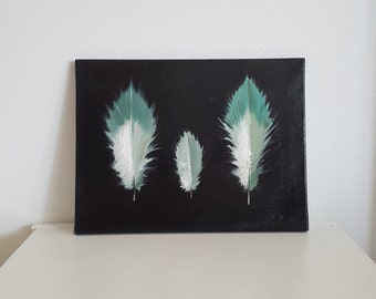 Three Feathers on Canvas 16 x 12 inch