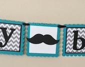 Small Mustache Black Gray & turquoise Happy Birthday Banner