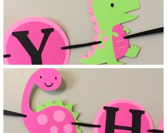 Dinosaur Happy Birthday Banner Ready to ship t-Rex tyranosaurus pink and green party decorations