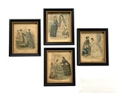 4 Antique 19th Century Godey French Fashion Prints La Mode Illustree