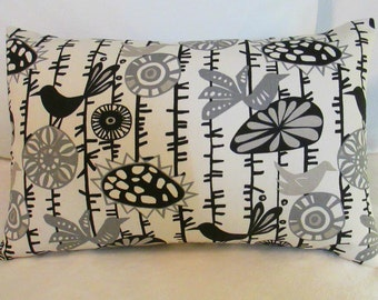 SALE Lumbar Pillow Cover 12 x 18 Menagerie Black LAST ONE