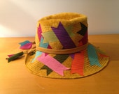 Christian Dior Hat Golden Chapeau Felt Ribbons Yellow Mustard Italy Dangles 1960's MCM Pimp Burning Man