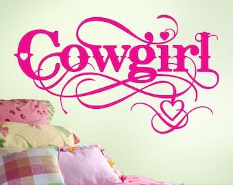 Cowgirl Wall Decal - Cowgirl Decor - Girls Room Vinyl Decal - Baby Girls Nursery Decal - Horse Lovers Western Baby Nursery