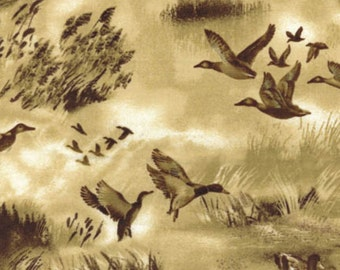 Ducks Sepia Tonal Tan Northwest Benartex Quilt Fabric by the 1/2 yard