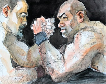 Lucha de Brazo de los Osos, (Arm Wrestling Bears) watercolor and crayon on 10x8 inches cotton paper by Kenney Mencher (gay art)