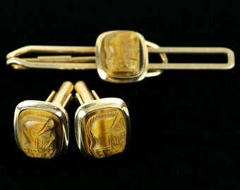 vintage 1940s goldfill TIGERS EYE cameo tie clip and cufflink set
