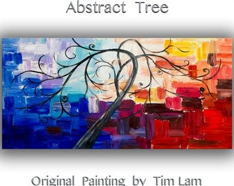 Acrylic painting Palette knife texture Copper leave landscape art abstract modern home wall art by Tim Lam 48x24