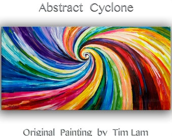 """Sale Original Spiral Art painting huge Impasto Texture modern oil painting  Abstract Painting on gallery wrap linen canvas by Tim Lam 48""""  x"""