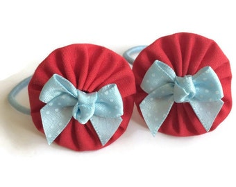 Red Fabric Yoyo Hair Ties/Elastics with Baby Blue Bows
