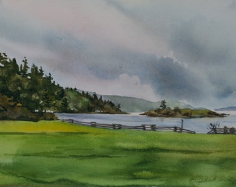 Eastsound Waterfront Park II, Watercolor Giclee Print, Indian Island, Orcas Island, San Juan Islands, Pacific Northwest, sailboat