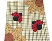 Flowers lady bug appliqué dish towel