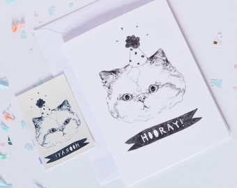 Hooray party cat card with matching temporary tattoo