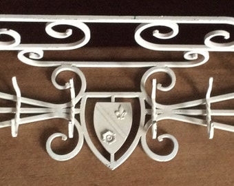 French Country Iron Coat Hat Rack with Hooks and Shelf, Fleur-de-Lis Decor
