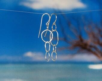 Fine silver link earrings random links modern oval circles chain links