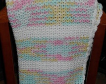 Handmade in Vermont Crocheted Baby V - Stitch  Afghan Blanket Very Soft