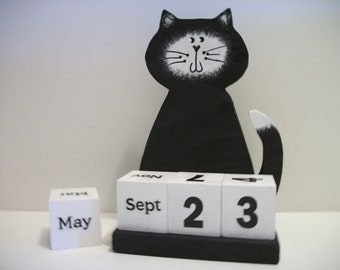 Cat Calendar Perpetual  Wood Block Black White Cat