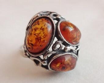 Amber Ring in Vine-like Sterling Setting