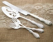 """Mr. & Mrs. forks, knife and cake server, vintage wedding """"Camelot"""", hand stamped"""