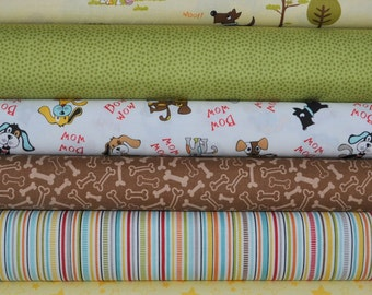 Puppy Park Yellow/Brown 6 Fat Quarters Bundle by Bella Blvd. for Riley Blake, 1 1/2 yards total
