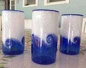 Anchor Bend Glassworks /THREE Hand Blown Glass Art/Wave Tumblers/Art Glass/Blue and White Drinking Glasses / Three Total /