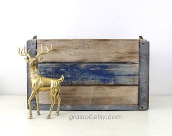 Vintage 1954 Knudsen Cry. Co. Milk Crate, Wood Metal Crate , Metal Strap Wood Box, Wedding Decor, Rustic Decor, Item No 1556