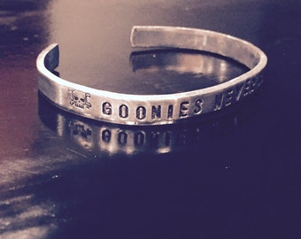 Goonies hand stamped bangle bracelet