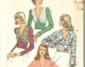 SALE 1970s V Neck Long Sleeve Top Midriff Band Surplice Bodice Stretch Knits Only Simplicity 6192 Size 8 Bust 31.5 Women's Vintage Sewing Pa