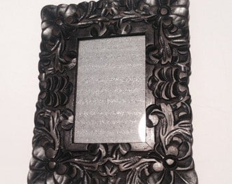 Deeply Carved Wood Photo Frame, Dark Brown Wood, Gorgeous Floral Pattern!