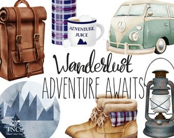 Travel clipart - Wanderlust print - Camping clipart - Campervan illustration - Watercolour clipart - Commercial use clipart - Leather bag