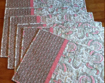 Handmade Quilted Neutral Placemats, Set of 6, Tan, Cream, Coral, Shabby Chic Paisley Table Decor, Summer Placemats, Quiltsy Handmade