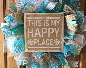 "24"" Happy Place Beach wreath"
