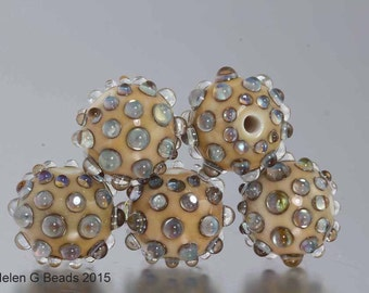 Bumpy, Lampwork Bead Set in ivory and iridescent green by Helen Gorick