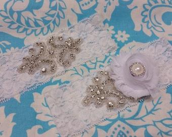 white Wedding Garter set  , stretch lace garter, crystal, rhinestone, white chiffon flower, white pearl